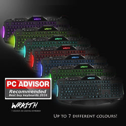 New Sumvision Wraith 7 Colour LED PC Computer Multi Colour Gaming Keyboard