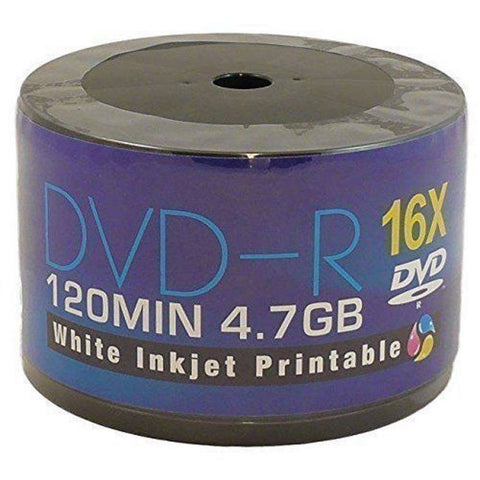 250 DVDs AONE DVD-R 16X Write Blank Discs FF White Inkjet Printable (5 Tubs of 50 Spindle/Cake Box)