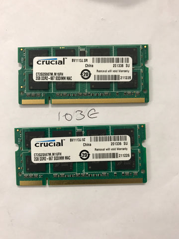 Apple Certified Crucial 4GB (2x2GB) DDR2 667mhz PC2-5300 CT2G2S667M.M16FH SoDIMM