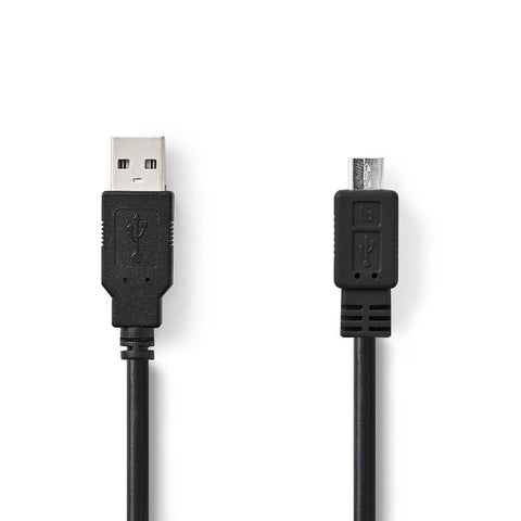 USB 2.0 Cable A Male - Micro B Male 3.0 m Black Universal Smartphone Power Charg