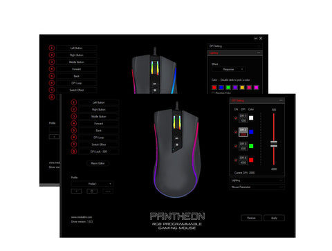 Pantheon GT300+ 9D PC Gaming Scroll Mouse Optical 4000DPI USB Black LED Lights