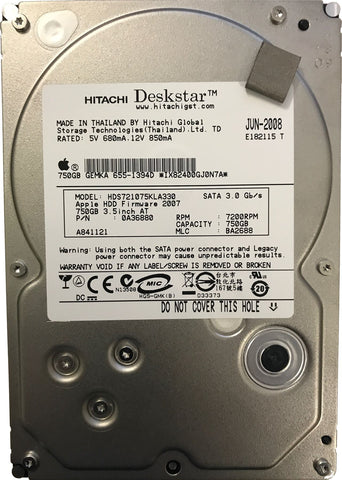 "Apple 655-1394D Hitachi 3.5"" 750GB SATA Hard Disk Drive iMac A1312/A1311 HDD"