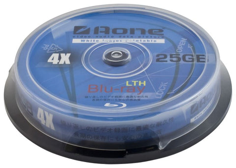 30pcs Aone 4x Write 25GB White Full Face Printable Blu-Ray Blank Discs 10pcs Cake Box/Spindle BD-R (Bluray 10 Pack Tub) Triple Pack 3x Tubs = 30 Discs