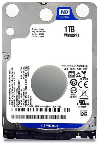 Western Digital 1TB Hard Disk Drive SATA 2.5in HDD WD Blue WD10SPZX 7mm 5400RPM 2.5""
