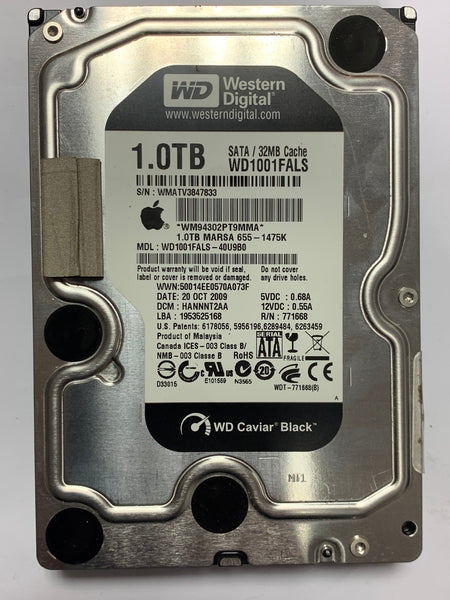 "Western Digital 1TB Internal 3.5"" SATA Hard Disk Drive Apple Certified 655-1567K 1000GB WD Black for iMac WD1001FALS-40U9B0 (Refurbished) HANNNT2AA"