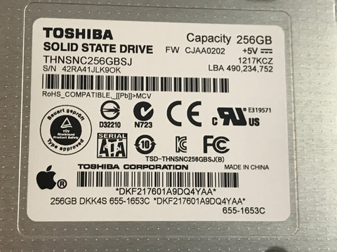 "Toshiba Solid State Drive Apple 655-1653C SSD 256GB 2.5"" Internal iMac/Macbook"