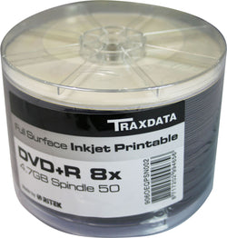 Twin Pack (100 DVDs) DVD-R 8X TRAXDATA FF White Full Face Inkjet Printable Blank
