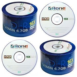 Twin Pack DVD-R AOne Logo Spindle/Cake Box of 50 Blank Discs 100 Recordable DVDs