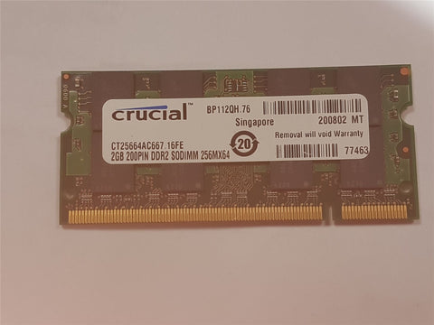 Apple Crucial 2GB DDR2 667mHz PC2-5300 CT25664AC667.16FE SoDIMM Mac RAM