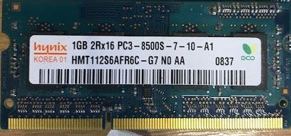 Hynix HMT125S6BFR8C-G7 1GB SoDimm 204-Pin PC3-8500 1067MHz DDR3 Laptop/Notebook/Mac Memory