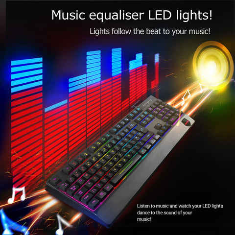 Sumvision Sonic Wave Hybrid PC Gaming LED Backlit Computer Keyboard Wired USB (Music Sound Wave Function)