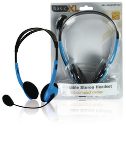 Portable stereo headset blue
