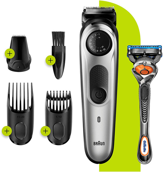 Braun BT5260 Beard Trimmer Hair Clipper for Men 39 Settings & Fusion 5 Razor (Gillette ProGlide)