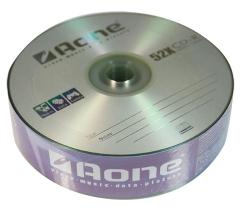 Aone CD-R Blank Discs 52X Logo 25pcs Spindle 700mb Music/Data CDs CDR Tub