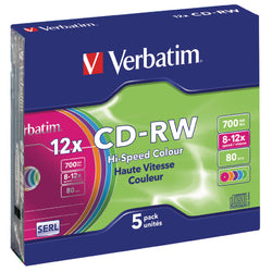 Verbatim CDRW-80 (8x-12xx) 5pk Slim Jewel Case - hi-speed coloured