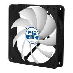 Arctic F12 Silent 12cm Case Fan, Black/White, 9 Blades, Fluid Dynamic, 6 Year Warranty