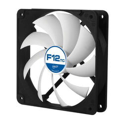 Arctic F12 Temperature Controlled 12cm Case Fan, Black & White, 9 Blades, Fluid Dynamic, 6 Year Warranty