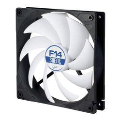 Arctic F14 Silent 14cm Case Fan, Black/White, 9 Blades, Fluid Dynamic, 6 Year Warranty