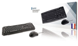 Konig USB multimedia keyboard & optical mouse French Layout AZERTY Black