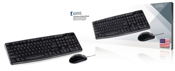 Konig CSKMCU100US USB Keyboard and Optical Mouse