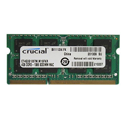 Crucial 4GB Module (1x4GB) DDR3/DDR3L 1066 MT/s (PC3-8500) SODIMM 204-Pin Mac Memory CT2C4G3S1067M.C16FKR Macbook/iMac Compatible (Refurbished)