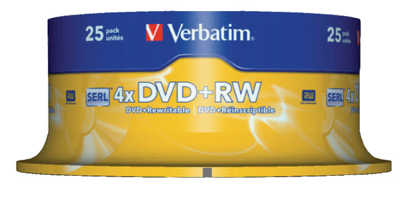 Verbatim 43489 4.7GB 4x Matt Silver DVD+RW - 25 Pack Spindle
