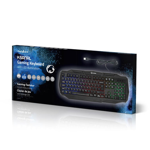 Nedis Ksanal PC Computer Gaming Keyboard LED QWERTY Wired USB English US Layout