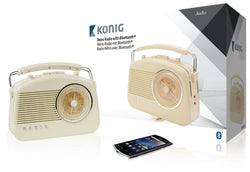 Konig AM/FM Retro Radio with Bluetooth Wireless Technology & Aux Input - Beige