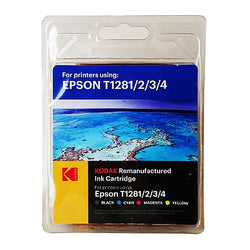 Kodak Remanufactured Epson Black & Colour T12815 Inkjet Ink Combo Pack, 16.4ml