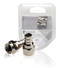 F-Connector Weatherproof 5.5 mm Male Metal Silver