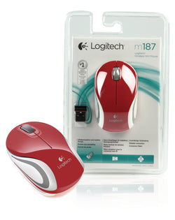 Logitech M187 Wireless Mini Mouse for Windows, Mac and Linux - Red