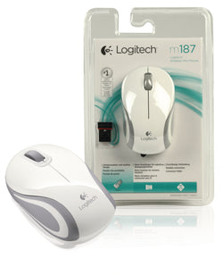 Logitech M187 Wireless Mini Mouse for Windows, Mac and Linux - White