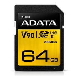 ADATA Premier ONE 64GB SDXC Card, UHS-II Class 10 (U3), V90 Video Speed (8K), R/W 290/260 MB/s