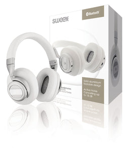 Sweex Headset Bluetooth / ANC (Active Noise Cancelling) Over-Ear White/Silver [SWBTANCHS200WH]