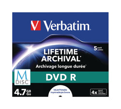 Verbatim 43821 M-Disc 4x DVD-R - 5 Pack Jewel Case