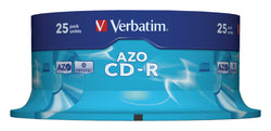 Verbatim CD-R 25Pk 52x 80Mins Super AZO Spindle