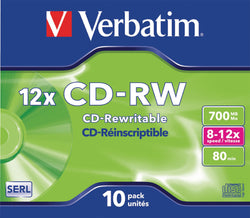 Verbatim vb-crw16jc Ð Blank CDs (CD-RW, 700 MB, 10 pc (S), 80 Min, 12 x, jewelcase)