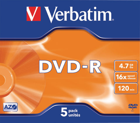 Verbatim 43519 4.7GB 16x DVD-R Jewel Case - Matt Silver (Pack of 5)