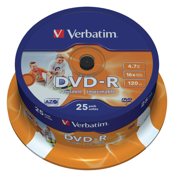 Verbatim 43538 16x Wide Printable DVD-R - Spindle 25 Pack