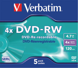 Verbatim 43285 DVD-RW 4.7GB 4x 5 pack, Individually cased