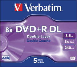 Verbatim 43541 8x Dual Layer DVD+R - Jewel Cased 5 Pack
