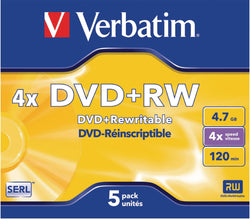 VERBATIM 5x DVD+RW 4,7GB 4x Jewel Case matt silver surface