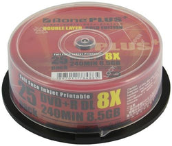 Aone DVD+R 8x Write Blank Discs 8.5GB DL Dual Layer Full Inkjet Printable 25pcs cake box OVERBURN (AOne+ Plus Gold)