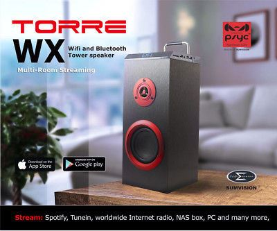 Sumvision Psyc Torre WX Wifi Bluetooth Mini Tower Speaker Connect 8 to 1 Device