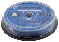 Aone 4x Write 25GB White Full Face Printable Blu-Ray Blank Discs 10pcs Cake Box/Spindle BD-R (Bluray 10 Pack Tub)