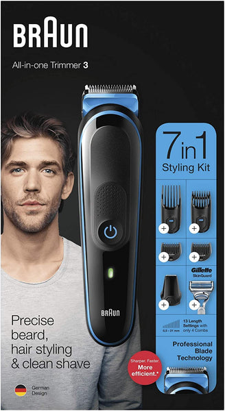 Braun 7-in-1 Rechargeable Hair/Beard Trimmer Styling Kit with Gillette Razor (Black/Blue) MGK3242