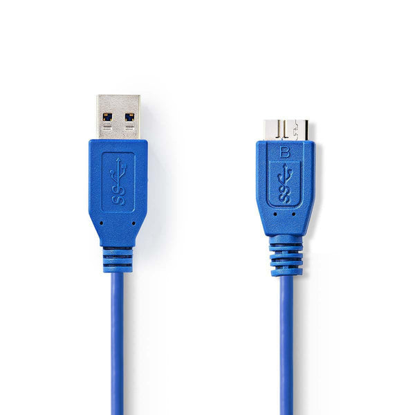 External Hard Drive USB 3.0 Cable A Male USB Micro B Male 3.0 m Blue