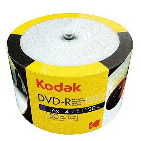 Kodak DVD-R 16x High Speed 4.7GB 120 minutes White Full Face Inkjet Printable 50 pack (Shrink Wrapped)