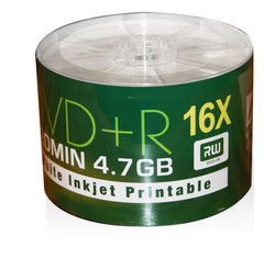 Aone DVD+R 16X White Full Face Inkjet Printable Blank Discs - 50 Spindle DVDs