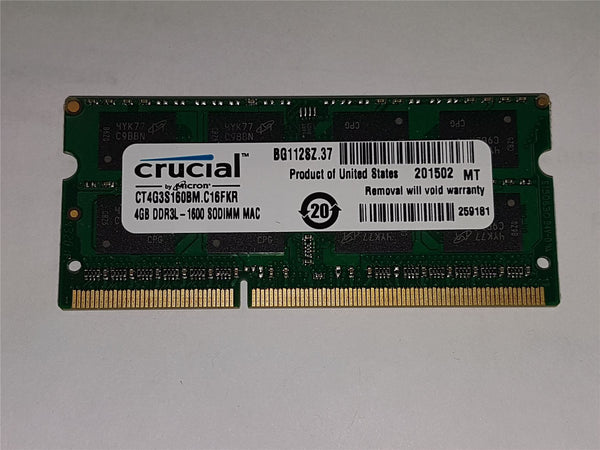 Apple Certified Crucial 4GB Kit (4GBx1) DDR3/DDR3L 1600 MT/s (PC3-12800) SODIMM